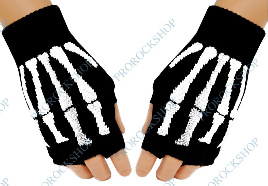 pletené rukavice bez prstů skeleton - ProRockShop 6820b2df45