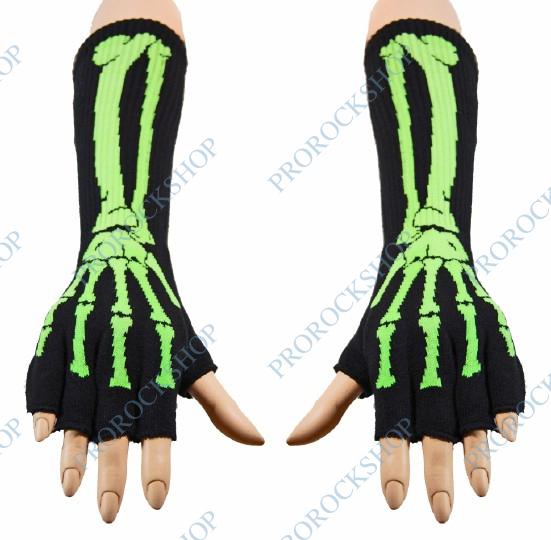 rukavice bez prstů na předloktí - zelený skeleton - ProRockShop 84c6edc23d