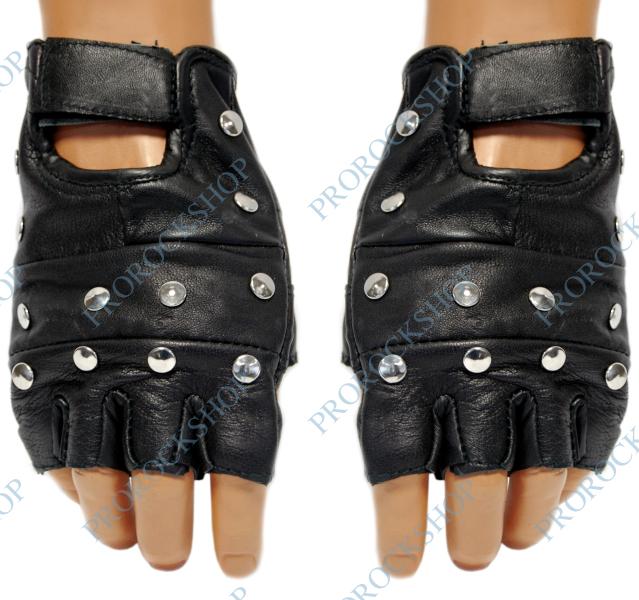 kožené rukavice s plochými cvoky - ProRockShop e06f12e132