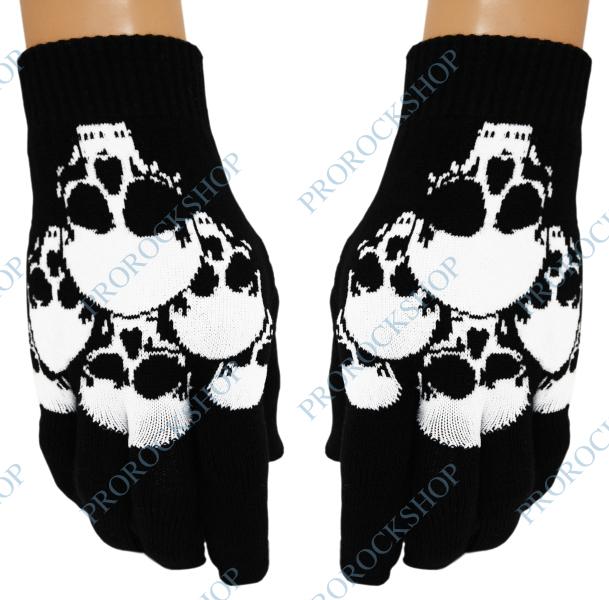 pletené rukavice s lebkami - ProRockShop c1500f3189