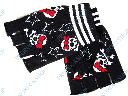 pletené rukavice bez prstů Lebky a mašle - ProRockShop 904bc85a65