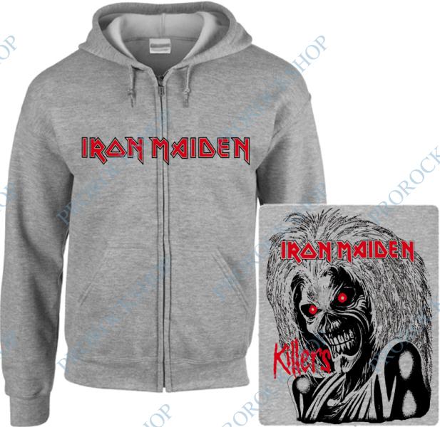 šedivá mikina s kapucí a zipem Iron Maiden - Killers - ProRockShop c23edb3065c