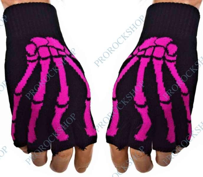 pletené rukavice bez prstů růžový skeleton II - ProRockShop 769eef94e1