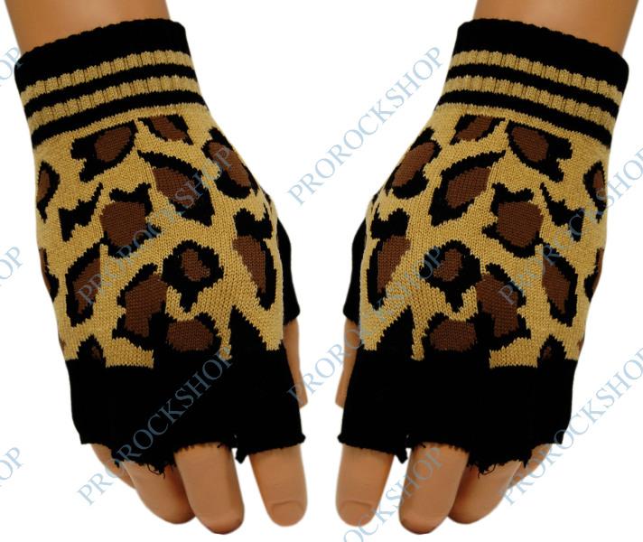 pletené rukavice bez prstů leopard - ProRockShop ee640e2c0b