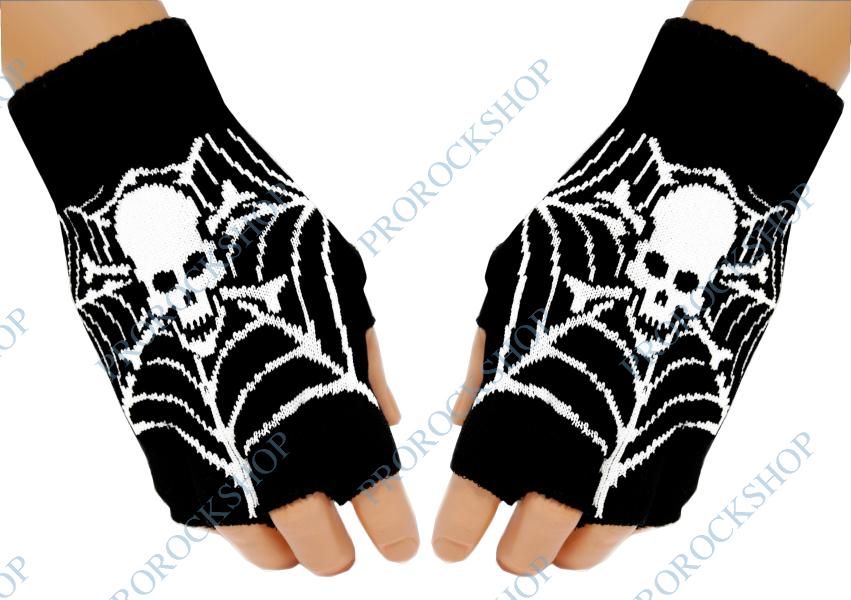 pletené rukavice bez prstů lebka s hnáty 8c87e1a227