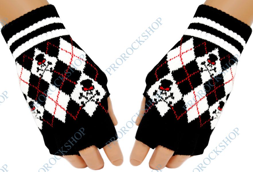 pletené rukavice bez prstů černobílé kostky - ProRockShop aa582e90ef