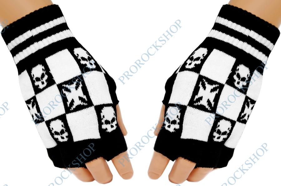 pletené rukavice bez prstů lebky a kříže 3d29896c5e