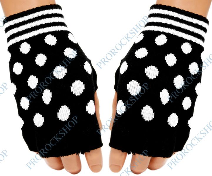 pletené rukavice bez prstů s bílými puntíky   bílé puntíky - ProRockShop 51e691675e