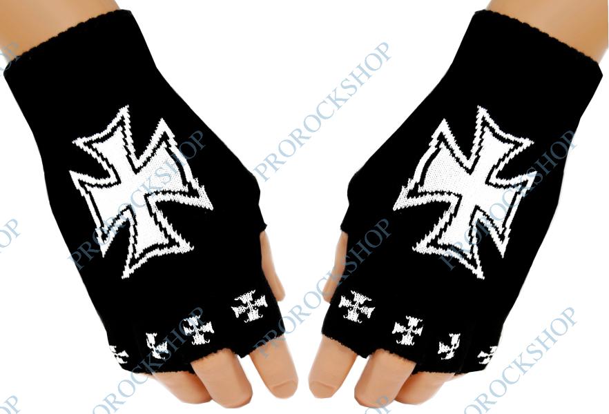 pletené rukavice bez prstů Maltézský kříž - ProRockShop 7bb6c79442