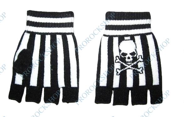 ... pletené rukavice (bez prstů) · Černobílé pruhy a lebka s hnáty 314b9ae850