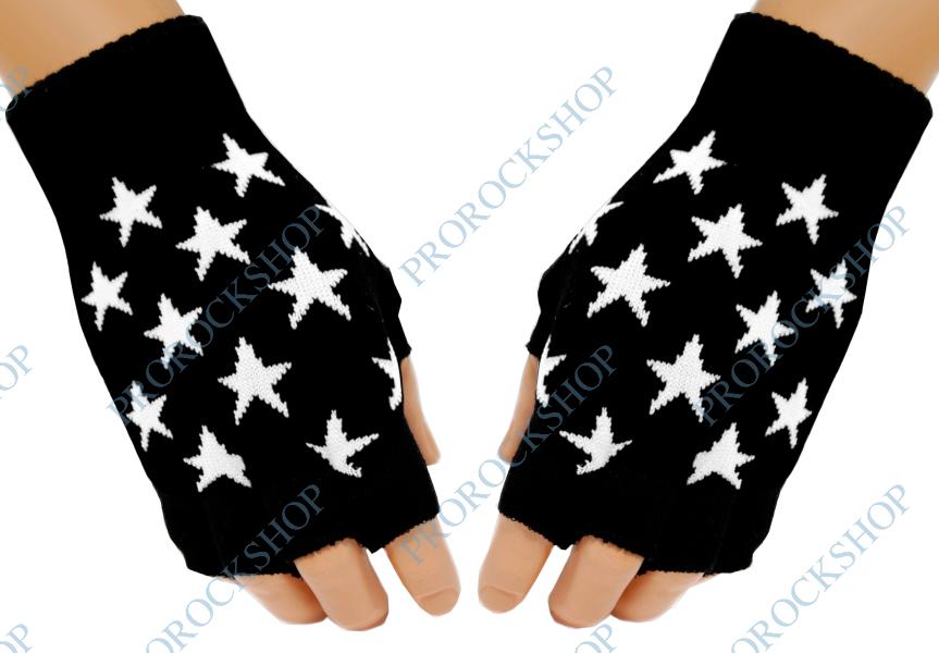 pletené rukavice bez prstů Bílé hvězdy - ProRockShop f439942dcd