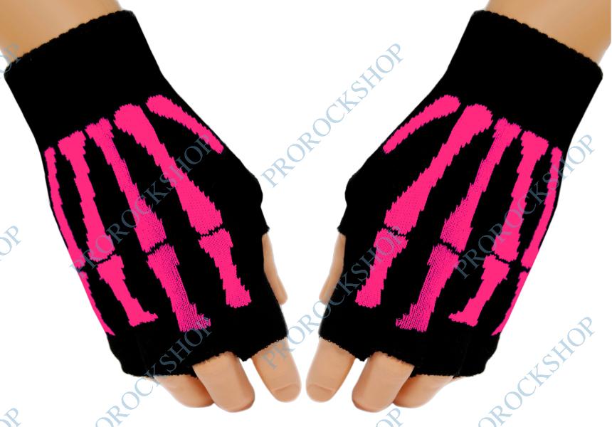 pletené rukavice bez prstů Růžový skeleton - ProRockShop b45c108127