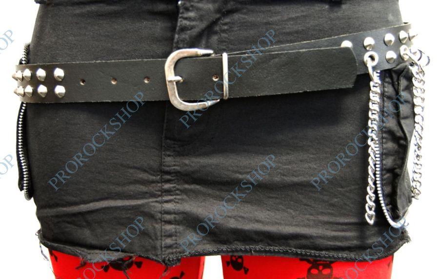 kožený pásek 2 řady cvoky a řetízky - ProRockShop ae0d083426