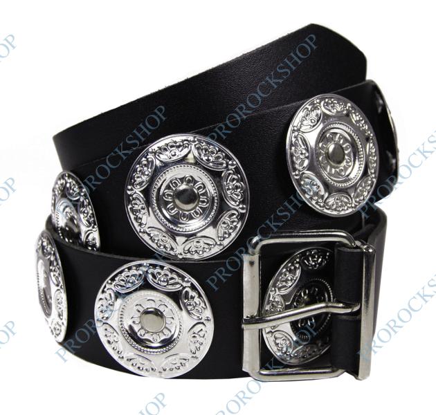 kožený pásek s ozdobami - kovové kroužky - ProRockShop fb19908d5c